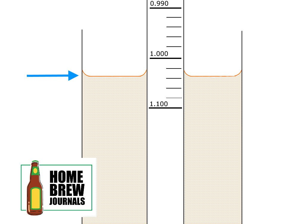 Diagram showing how to correctly read a specific gravity using hydrometer